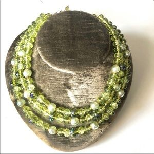 W Germany Lucite Triple Strand Statement Necklacre